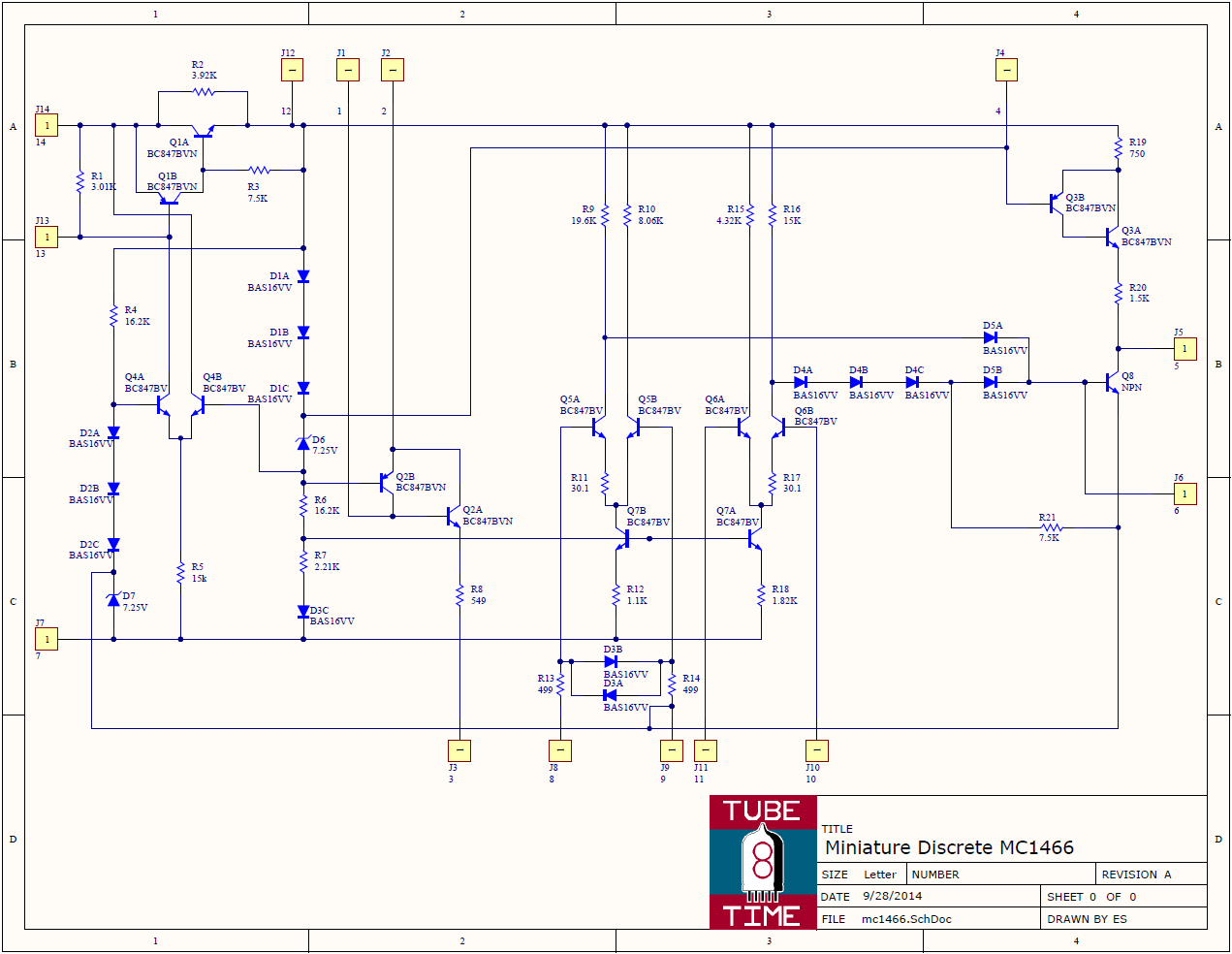Tubetime Blog Archive A Miniaturized Discrete Mc1466 Battery Desulfator Circuit Diagram You Can See The Long Skinny Resistors And Lateral Pnps As Well Npn Transistors Diodes Below Is Schematic Click To Enlarge